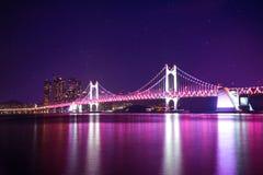 Gwangan Bridge at night with star in Busan, Korea. Stock Photos