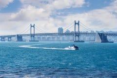 Gwangan bridge and speed boat in Busan. Royalty Free Stock Photos