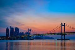 Gwangan Bridge on sunrise. Busan, South Korea stock image