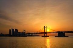 Gwangan Bridge on sunrise. Busan, South Korea royalty free stock image