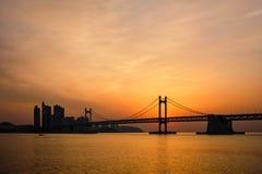 Gwangan Bridge on sunrise. Busan, South Korea stock photos