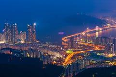 Gwangan bro i den Busan staden, Sydkorea Royaltyfri Bild