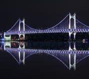 Gwanganbrug in Busan bij nacht Royalty-vrije Stock Foto