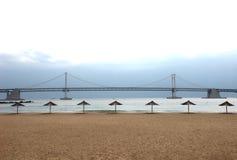Gwangandaegyo Bridge and Parasol in Gwangalli, Busan, South Korea, Asia.  stock image