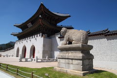 The Gwanghwamun Gate. Shoot of Gwanghwamun Gate, Seoul, South Korea with guardian lion Stock Photos