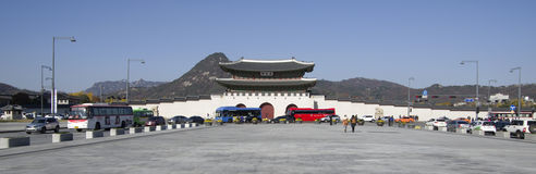 Gwanghwamun gate at Gyeongbokgung Palace downtown Seoul Royalty Free Stock Image