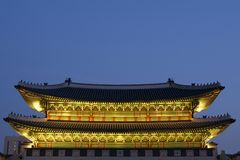 Gwanghwamun (la conduttura ed il portone del sud) Fotografie Stock Libere da Diritti