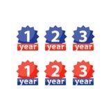 Gwaranci etykietka, jeden dwa trzy rok gwarancja, wektorowa płaska ikona ilustracja wektor