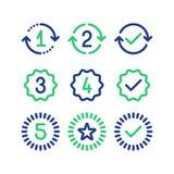 Gwarancja rok znaki, gwarancja usługowy okres, zatwierdzający ocena, kreskowe ikony ilustracja wektor
