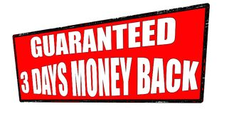 Gwarantowany trzy dni pieniądze plecy Obraz Royalty Free