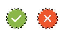 Gwarantowany znaczka set lub weryfikować odznaka Weryfikować ikona znaczek ilustracji