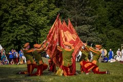 Gwardia Gryfa team performing flag dance Stock Image
