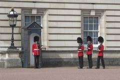 Gwardziści przy buckingham palace w Londyn Fotografia Royalty Free
