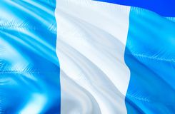Gwatemala flaga 3D falowania flaga projekt Krajowy symbol Gwatemala, 3D rendering Obywatelów kolory i Krajowy Ameryka Południowa fotografia royalty free