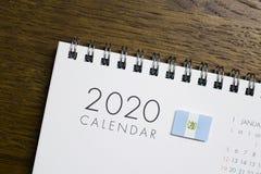 Gwatemala flaga na 2020 kalendarzu zdjęcia royalty free