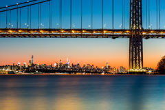 GWB and NYC skyline at sunset Stock Image