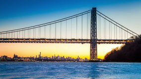 GWB and NYC skyline at sunset stock footage