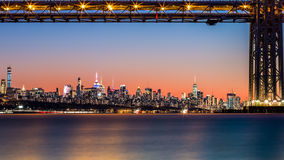 GWB and NYC skyline at sunset Royalty Free Stock Image