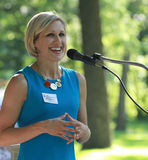 Gwenn Aspen speaking at Tea Party Rally Stock Images