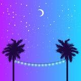 Gwiaździsta noc i palma ilustracja wektor