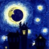 Gwiaździsta noc w stylu Van Gogh ilustracja wektor