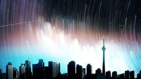 Gwiaździstej nocy scena miasto przy nocą Loopable zdjęcie wideo