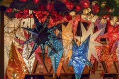 Gwiazd światła przy Xmas rynku czasem 03 Fotografia Royalty Free
