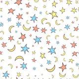 Gwiazd i księżyc bezszwowy wzór Kreskówka styl Biały backgroun Zdjęcie Stock