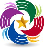 Gwiazd ręk okręgu logo Obrazy Royalty Free