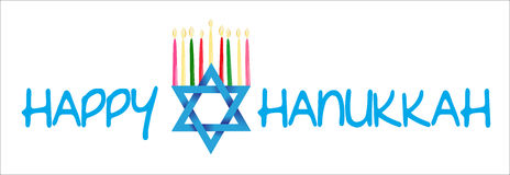 Gwiazda Dawidowa i Menorah dla Hanukkah royalty ilustracja