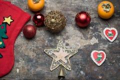 Gwiazda i dekoracje na stole Zdjęcia Royalty Free