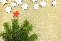Gwiazda kształtował miodowniki z jedlin gałąź na złotym backgr Fotografia Stock