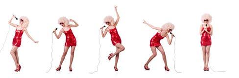 Gwiazda muzyki POP z mic na bielu zdjęcie royalty free