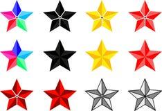 Gwiazda set, gwiazdy różni kolory Obraz Stock