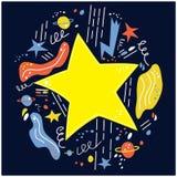 Gwiazda wybuchu przestrzeń, Gdy ty życzysz w górę gwiazdy dalej również zwrócić corel ilustracji wektora obraz stock