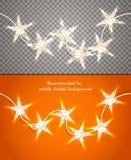 Gwiazdkowaci bożonarodzeniowe światła na przejrzystym tle Projektuje element dla sztandarów, ulotki i w ten sposób ilustracja wektor