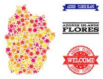 Gwiazdowa mozaiki mapa Azores, Flores gumy, wyspy Watermarks - i ilustracja wektor