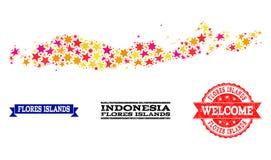 Gwiazdowa mozaiki mapa Indonezja, Flores pieczątki, wyspy - i ilustracja wektor