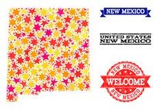 Gwiazdowa mozaiki mapa Nowy - Mexico Grunge i stanu Watermarks royalty ilustracja