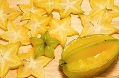 Gwiazdowa owoc, carambola plasterek Obraz Stock