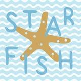 Gwiazdowa ryba w błękitnym nautycznym oceanu plakacie ilustracji