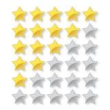 5 gwiazdowa wektorowa ocena z pe?nymi i pustymi gwiazdami ilustracja wektor