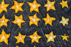 Gwiazdowe owoc na drewnianym stole Tajlandzka owoc: Gwiazdowa owoc jest popularna Obraz Stock