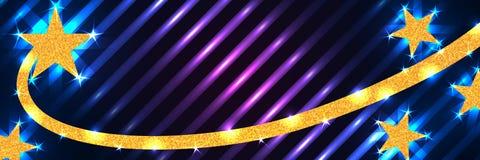 Gwiazdowego kreskowego złocistego błyskotliwość kędzioru błękitny purpurowy sztandar RGB royalty ilustracja
