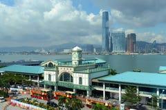 Gwiazdowego promu Środkowy molo i Wiktoria schronienie, Hong Kong Fotografia Royalty Free
