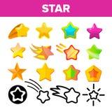 Gwiazdowej ikony ustalony wektor Złociste Jaskrawe Gwiazdowe ikony Niebo kosmosu przedmiot Ratingowy znak Zwycięzcy kształt Linia royalty ilustracja