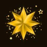 Gwiazdowi realistyczni kruszcowi z?oci odosobneni koloru ? royalty ilustracja