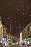 Gwiazdowy światło na Bahnhofstrasse w Zurich przy Bożenarodzeniowym czasem zdjęcia stock