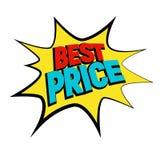 Gwiazdowy bąbel komiczki styl z Best Prise czerwoną teksta wektoru ilustrację Obraz Royalty Free