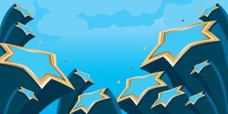Gwiazdowy błękitny złocisty niebo sztandar ilustracji